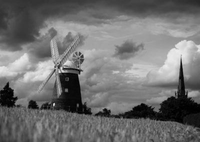 A black and white view of the windmill at Thaxted.