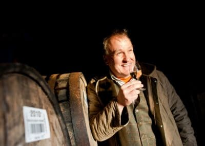 marky reynier of bruichladdich distillery photographed in one of the whisky warehouses